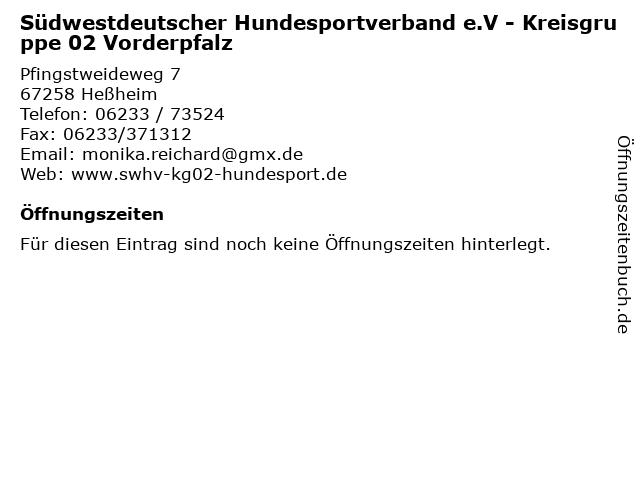 Südwestdeutscher Hundesportverband e.V - Kreisgruppe 02 Vorderpfalz in Heßheim: Adresse und Öffnungszeiten