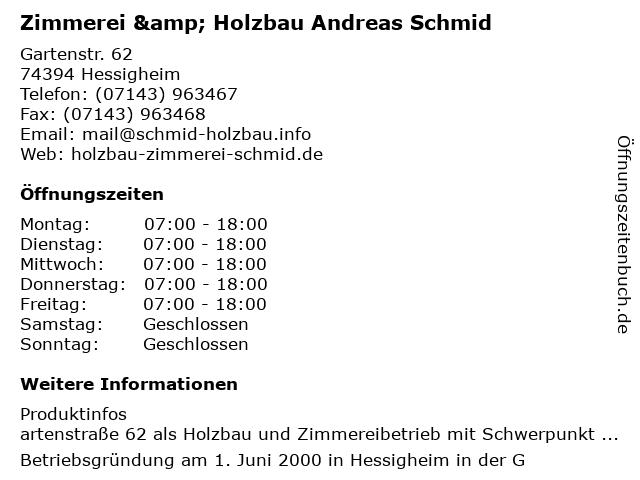 ᐅ Offnungszeiten Zimmerei Holzbau Andreas Schmid Gartenstr 62