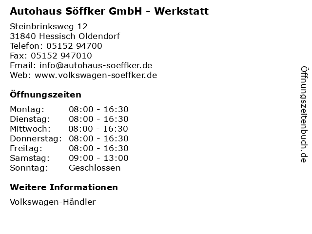 Autohaus Söffker GmbH - Werkstatt in Hessisch Oldendorf: Adresse und Öffnungszeiten