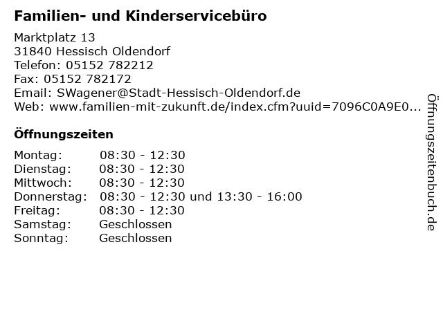 Familien- und Kinderservicebüro in Hessisch Oldendorf: Adresse und Öffnungszeiten