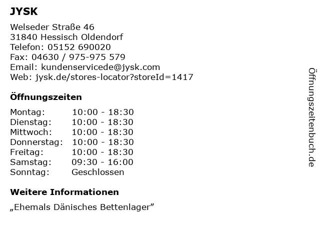 JYSK in Hessisch Oldendorf: Adresse und Öffnungszeiten