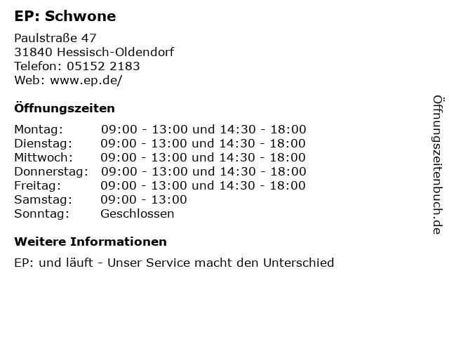 EP: Schwone in Hessisch-Oldendorf: Adresse und Öffnungszeiten