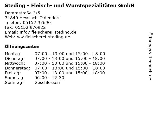 Steding - Fleisch- und Wurstspezialitäten GmbH in Hessisch-Oldendorf: Adresse und Öffnungszeiten