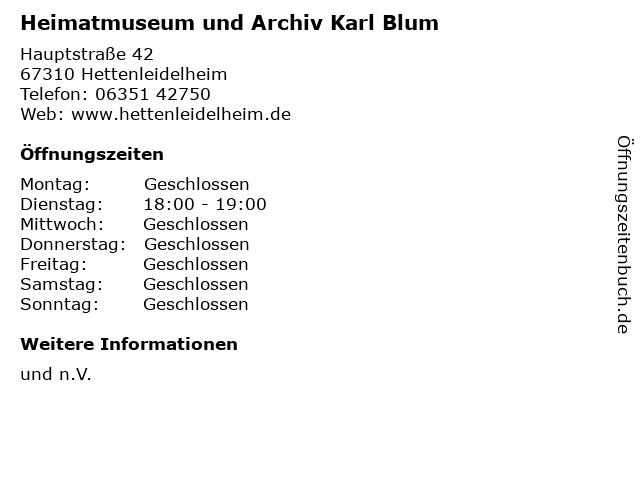Heimatmuseum und Archiv Karl Blum in Hettenleidelheim: Adresse und Öffnungszeiten