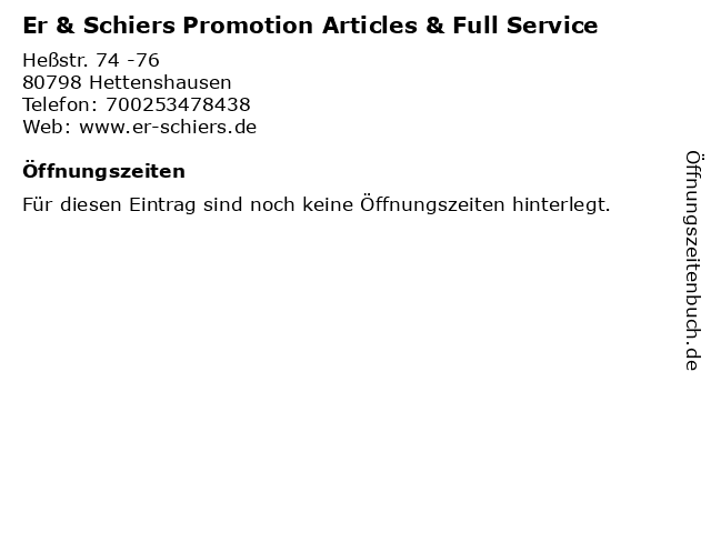 Er & Schiers Promotion Articles & Full Service in Hettenshausen: Adresse und Öffnungszeiten