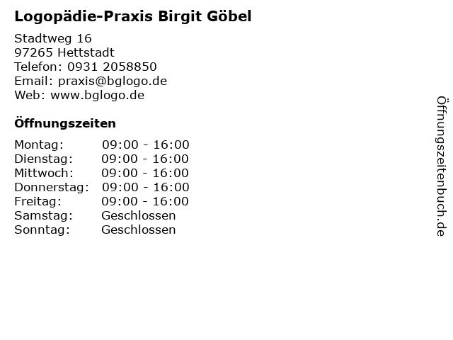 Logopädie-Praxis Birgit Göbel in Hettstadt: Adresse und Öffnungszeiten