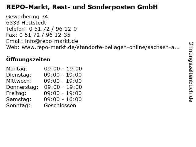 ᐅ öffnungszeiten Repo Markt Rest Und Sonderposten Gmbh