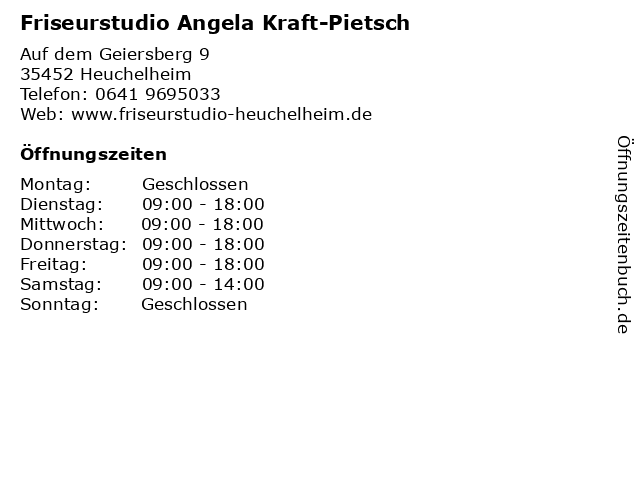 Friseurstudio Angela Kraft-Pietsch in Heuchelheim: Adresse und Öffnungszeiten