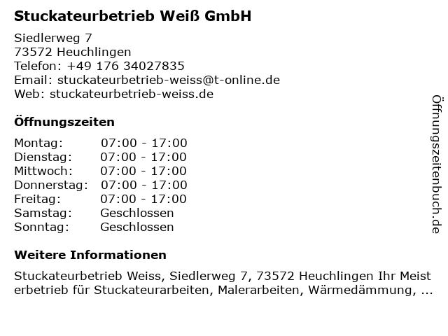 Stuckateurbetrieb Weiß GmbH in Heuchlingen: Adresse und Öffnungszeiten
