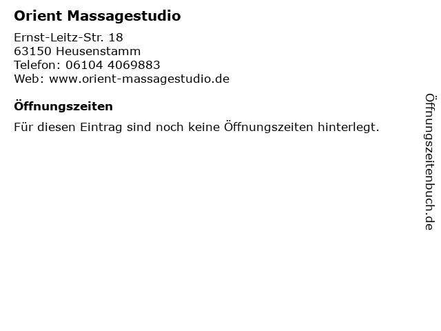 Orient Massagestudio in Heusenstamm: Adresse und Öffnungszeiten