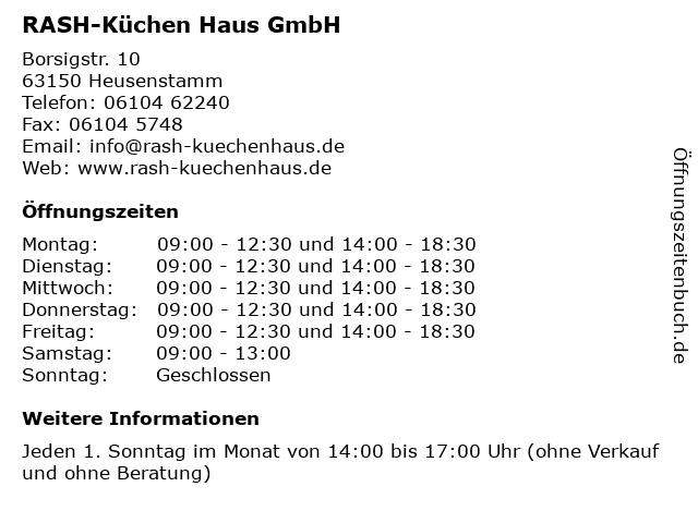 ᐅ Offnungszeiten Rash Kuchen Haus Gmbh Borsigstr 10 In Heusenstamm