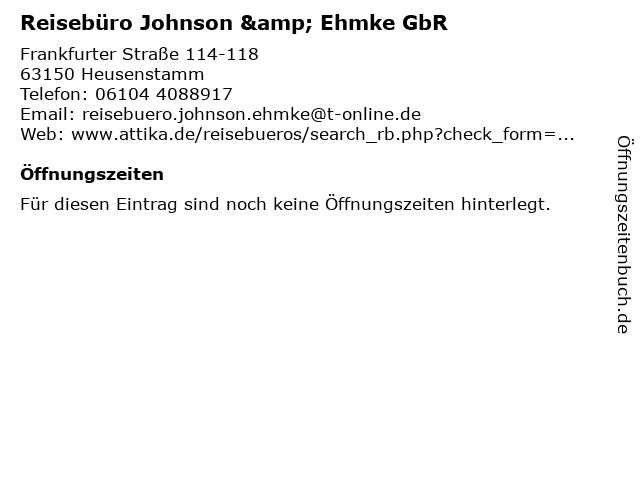 Reisebüro Johnson & Ehmke GbR in Heusenstamm: Adresse und Öffnungszeiten