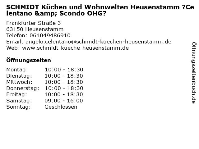 ᐅ Offnungszeiten Schmidt Kuchen Und Wohnwelten Heusenstamm