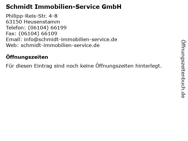Schmidt Immobilien-Service GmbH in Heusenstamm: Adresse und Öffnungszeiten
