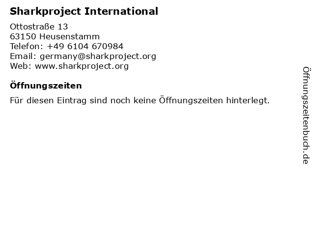 Sharkproject International in Heusenstamm: Adresse und Öffnungszeiten