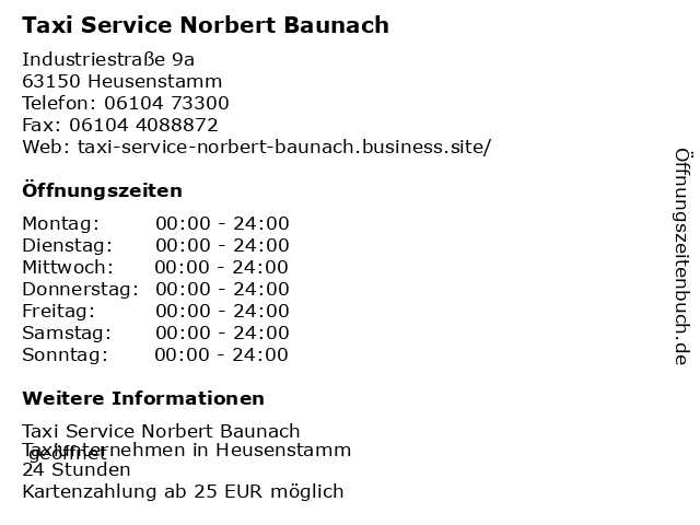 Taxi Service Norbert Baunach in Heusenstamm: Adresse und Öffnungszeiten