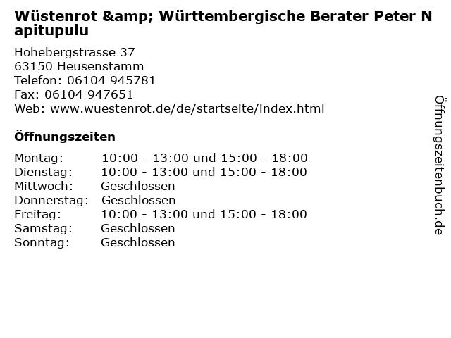Wüstenrot & Württembergische Berater Peter Napitupulu in Heusenstamm: Adresse und Öffnungszeiten