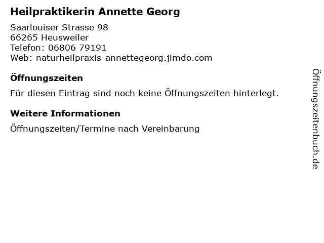 Heilpraktikerin Annette Georg in Heusweiler: Adresse und Öffnungszeiten
