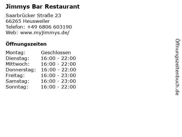 Jimmys Bar Restaurant in Heusweiler: Adresse und Öffnungszeiten