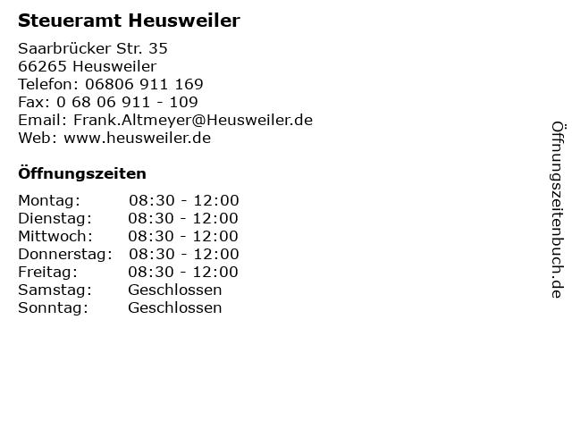 Steueramt Heusweiler in Heusweiler: Adresse und Öffnungszeiten