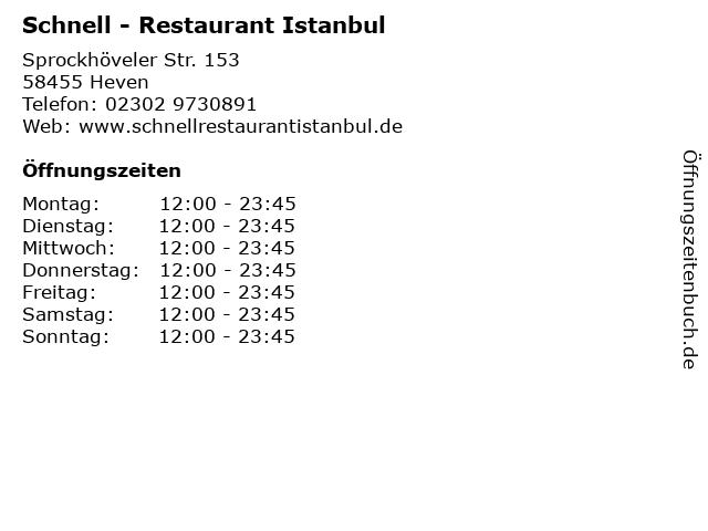 Schnell - Restaurant Istanbul in Heven: Adresse und Öffnungszeiten