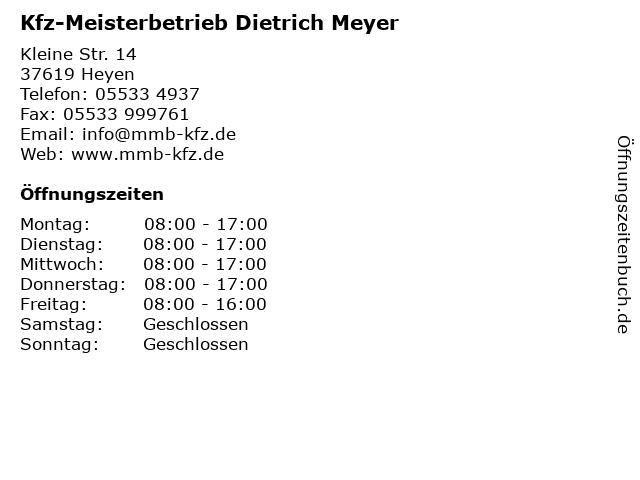 Kfz-Meisterbetrieb Dietrich Meyer in Heyen: Adresse und Öffnungszeiten