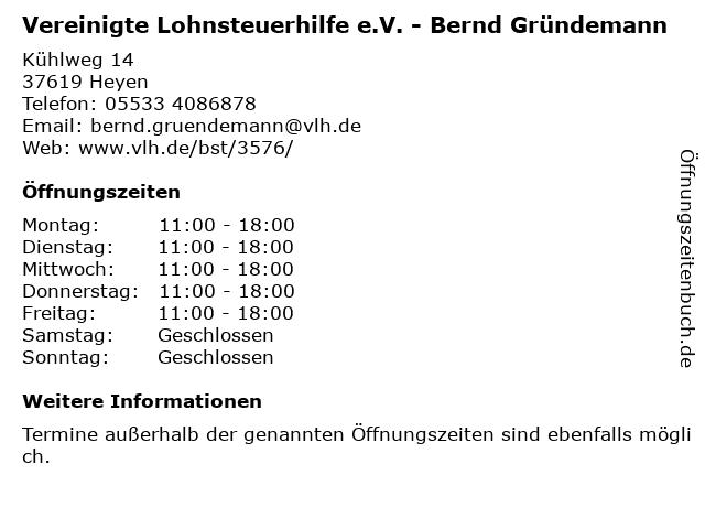 Vereinigte Lohnsteuerhilfe e.V. - Bernd Gründemann in Heyen: Adresse und Öffnungszeiten