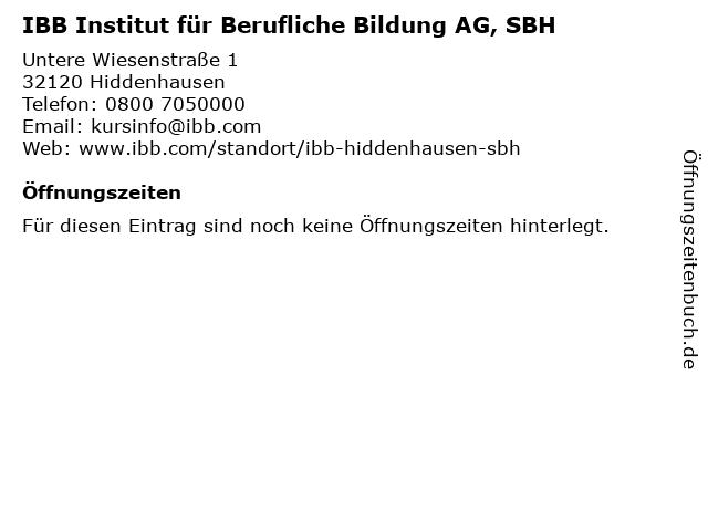 IBB Institut für Berufliche Bildung AG, SBH in Hiddenhausen: Adresse und Öffnungszeiten