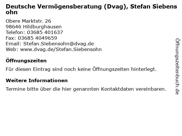 Deutsche Vermögensberatung (Dvag), Stefan Siebensohn in Hildburghausen: Adresse und Öffnungszeiten