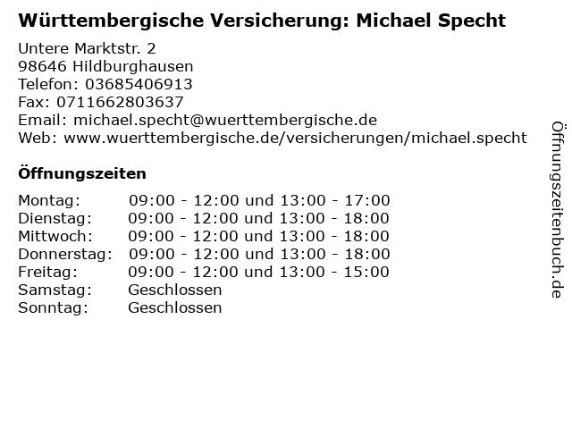 Württembergische Versicherung: Michael Specht in Hildburghausen: Adresse und Öffnungszeiten