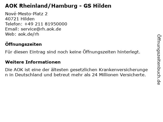 AOK Rheinland/Hamburg - GS Hilden/ AKTUELL nur mit Termin in Hilden: Adresse und Öffnungszeiten