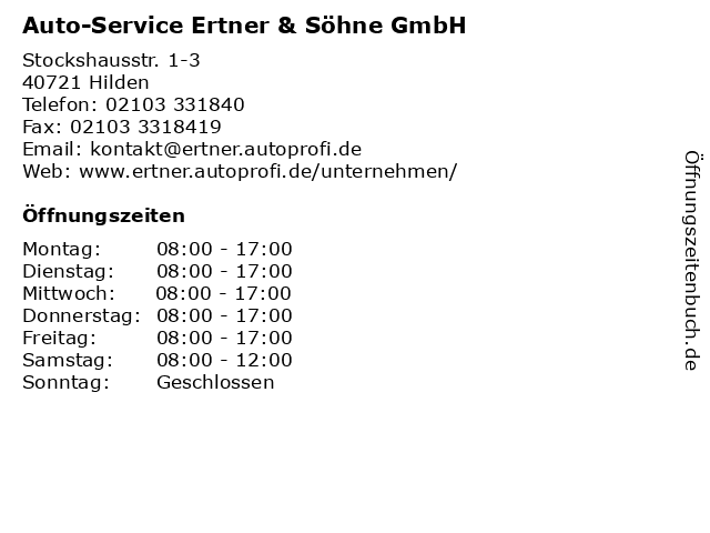 Auto-Service Ertner & Söhne GmbH in Hilden: Adresse und Öffnungszeiten