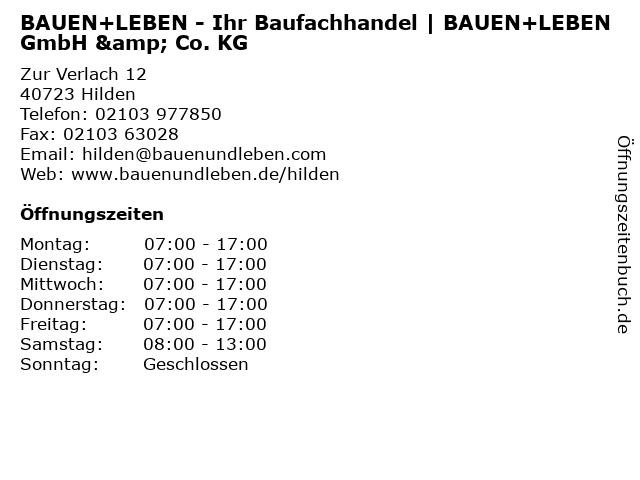 BAUEN+LEBEN - Ihr Baufachhandel   BAUEN+LEBEN GmbH & Co. KG in Hilden: Adresse und Öffnungszeiten