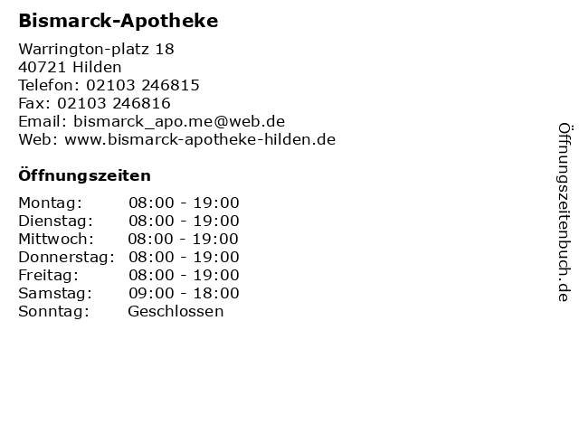Bismarck-Apotheke in Hilden: Adresse und Öffnungszeiten