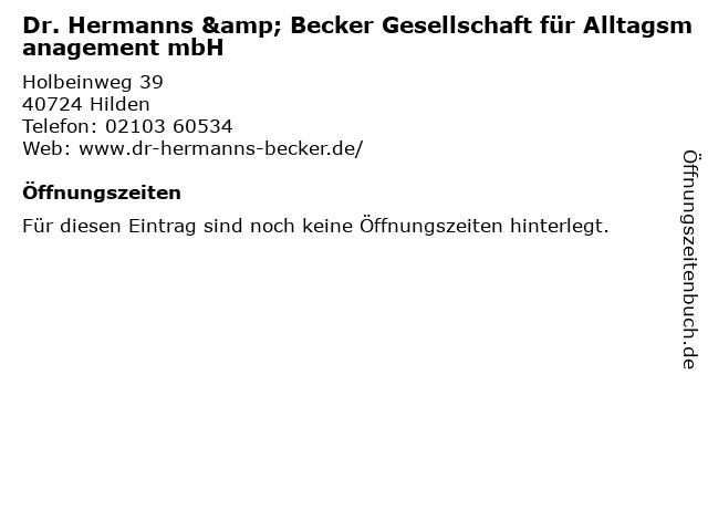 Dr. Hermanns & Becker Gesellschaft für Alltagsmanagement mbH in Hilden: Adresse und Öffnungszeiten