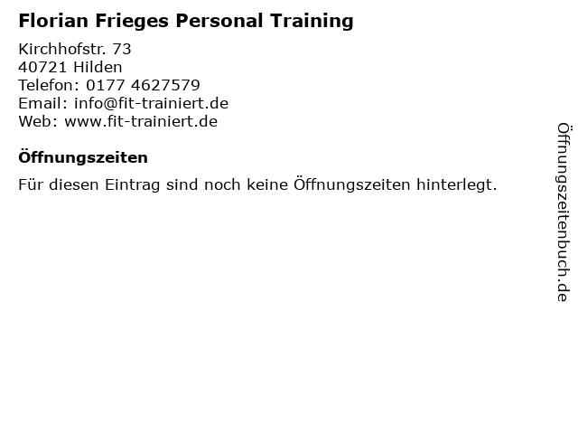 Florian Frieges Personal Training in Hilden: Adresse und Öffnungszeiten