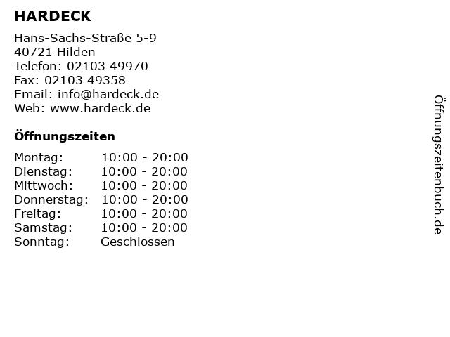 ᐅ öffnungszeiten Hardeck Hans Sachs Straße 5 9 In Hilden