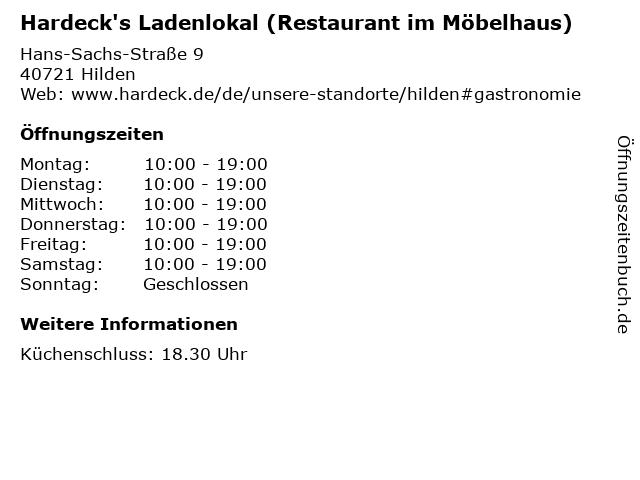 ᐅ öffnungszeiten Hardecks Ladenlokal Restaurant Im Möbelhaus