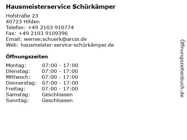 Hausmeisterservice Schürkämper in Hilden: Adresse und Öffnungszeiten