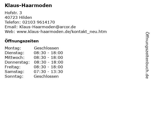 ᐅ Offnungszeiten Klaus Haarmoden Hofstr 3 In Hilden