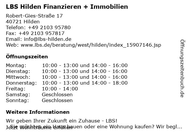LBS Hilden Finanzieren + Immobilien in Hilden: Adresse und Öffnungszeiten