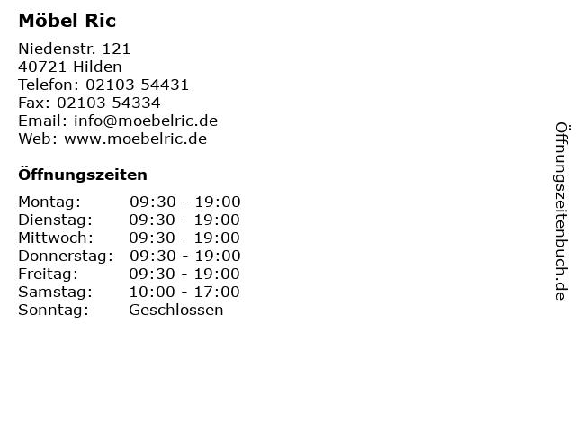 ᐅ öffnungszeiten Möbel Ric Niedenstr 121 In Hilden
