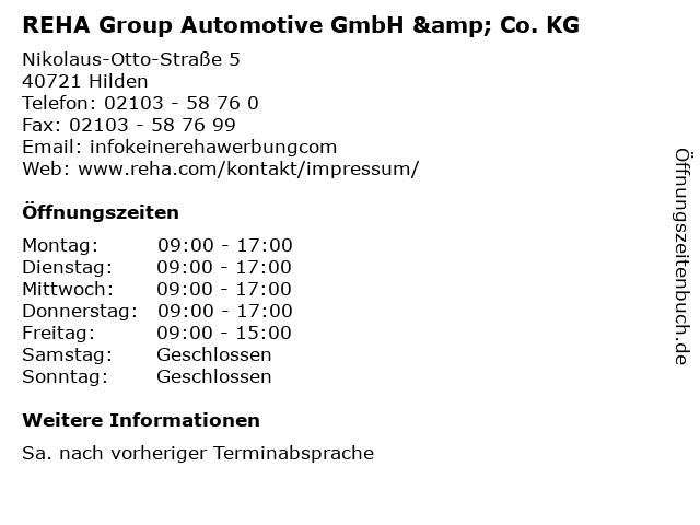 REHA Group Automotive GmbH & Co. KG in Hilden: Adresse und Öffnungszeiten