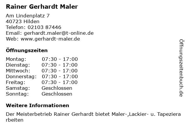 Rainer Gerhardt Maler in Hilden: Adresse und Öffnungszeiten