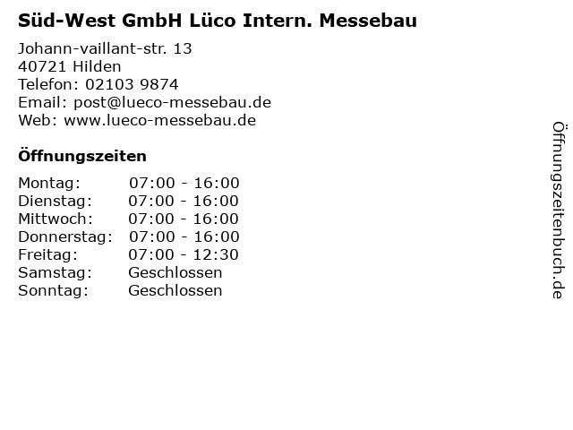 Süd-West GmbH Lüco Intern. Messebau in Hilden: Adresse und Öffnungszeiten