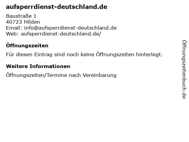 aufsperrdienst-deutschland.de in Hilden: Adresse und Öffnungszeiten