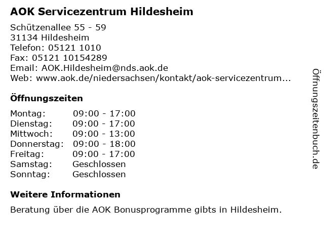AOK Servicezentrum Hildesheim in Hildesheim: Adresse und Öffnungszeiten