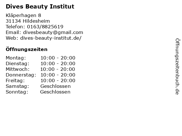 Dives Beauty Institut in Alfeld: Adresse und Öffnungszeiten