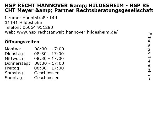 HSP RECHT HANNOVER & HILDESHEIM - HSP RECHT Meyer & Partner Rechtsberatungsgesellschaft in Hildesheim: Adresse und Öffnungszeiten
