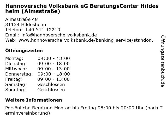 ᐅ Offnungszeiten Volksbank Hildesheimer Borde Eg Geschaftsstelle